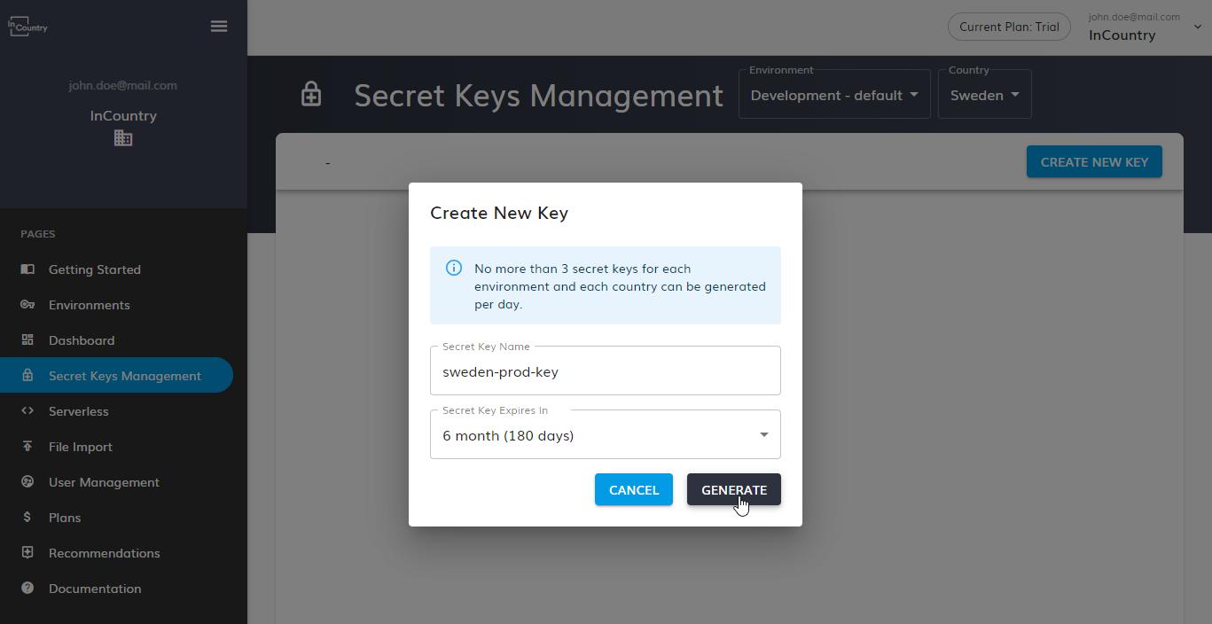 Generate New Secret Key