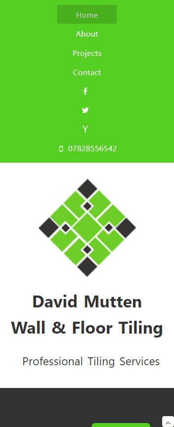 David Mutten Tiling website frontpage on a mobile