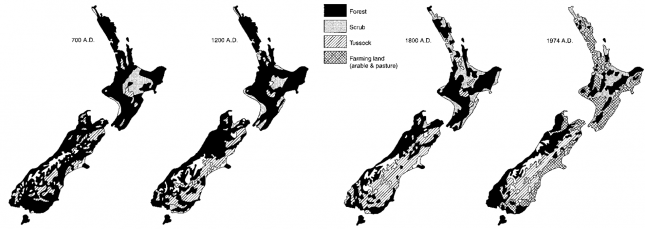 "New Zealand Vegetation- Pre-Polynesian (700 CE), Pre-Classical Maori (1200 CE), Pre-European (1800"" CE) and Present (1974 CE) – Williams (2006)0"