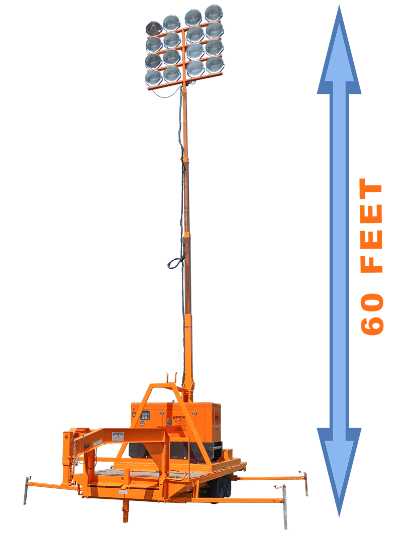 light tower extended to 60 feet