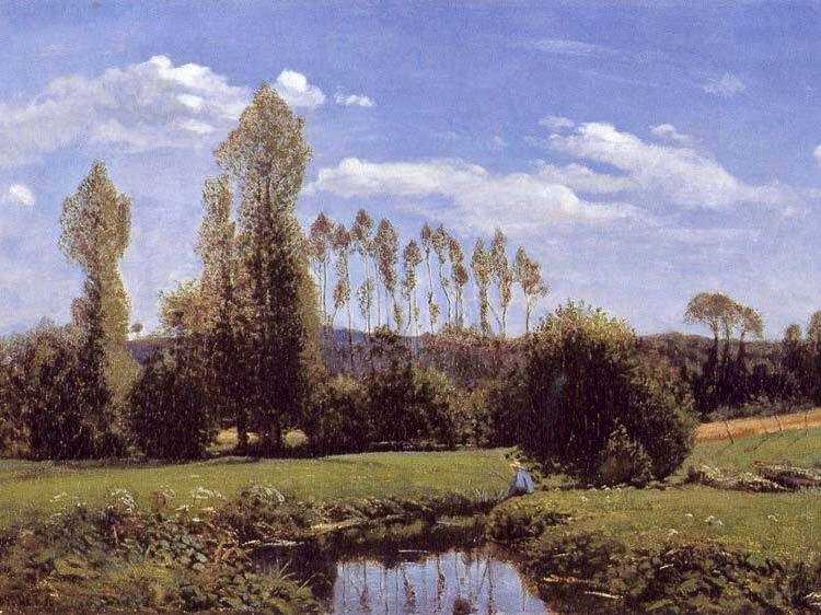 An early Monet work, from 1858, entitled View at Rouelles. This painting of a bucolic scene (nb the Poplars) is influenced by Courbet and Corot.