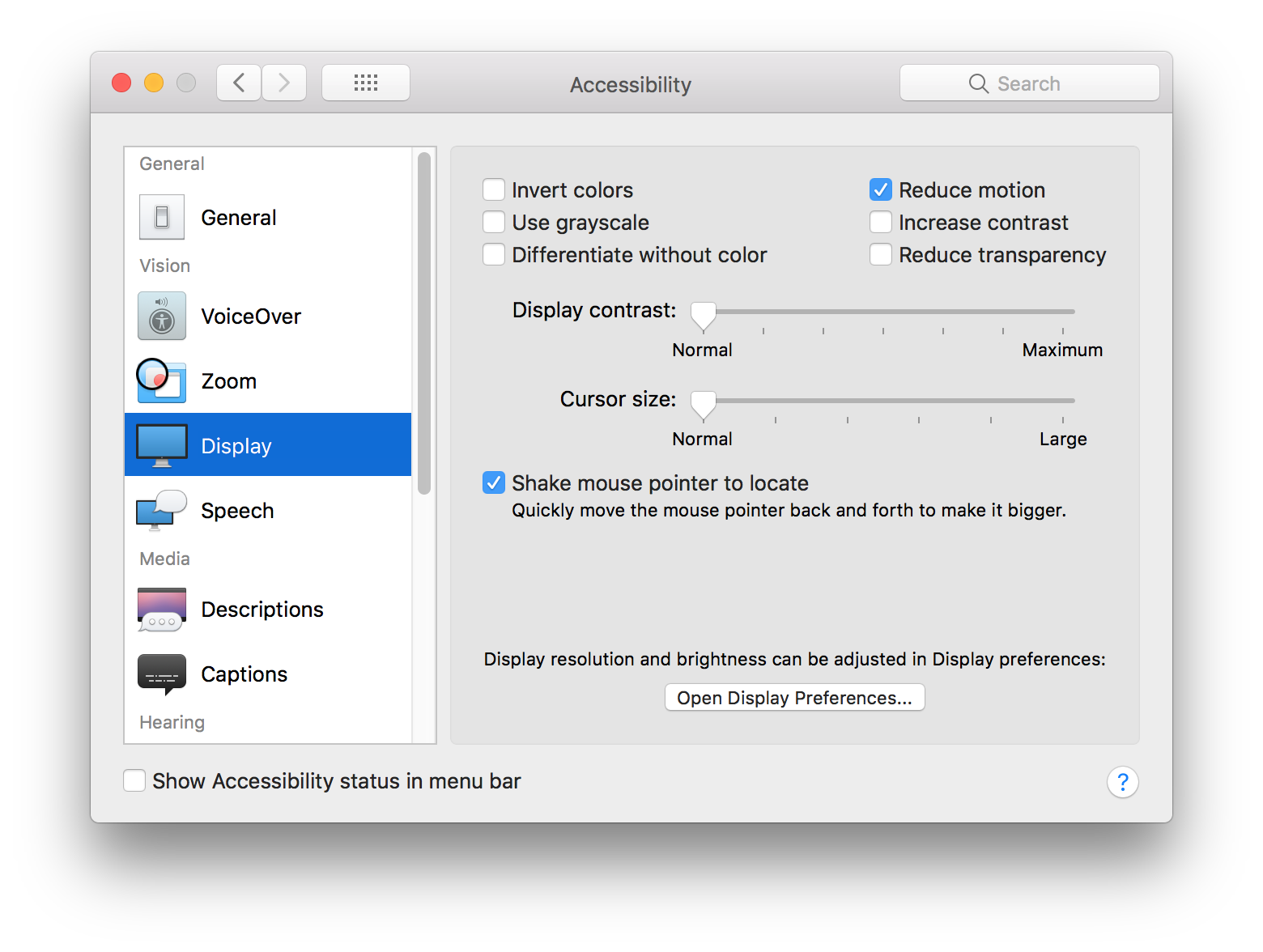 Reduced motion option in accessibility settings from macOS