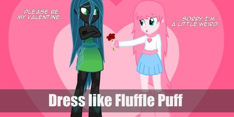 for this outfit, Fluffle Puff will take on a human appearance. She'll be wearing a white long-sleeved shirt with furry pink sleeves, a light blue skirt, and furry pink leg warmers.