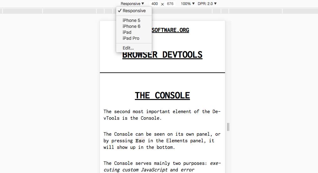 The device emulator