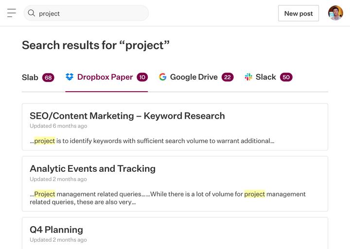 Search Dropbox Paper