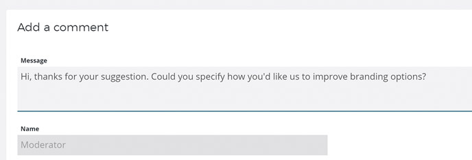 A form showing someone asking for more details about a suggestion