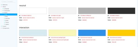 UI component library color palette options grouped by category