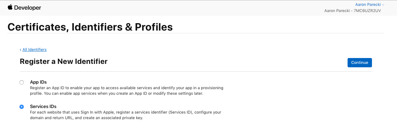 Create a new Services ID