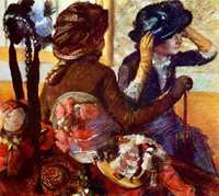 Another topic Degas returned to repeatedly in his later years was the Milliner (a person selling lady's hats).