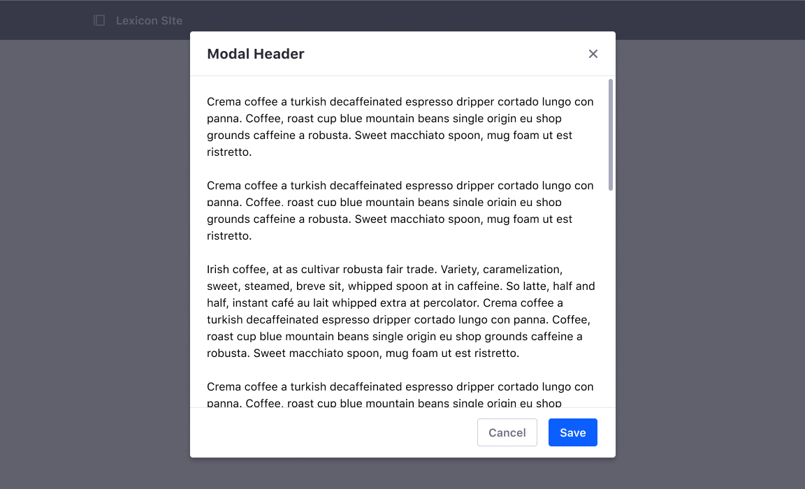 Dynamic size modal with footer