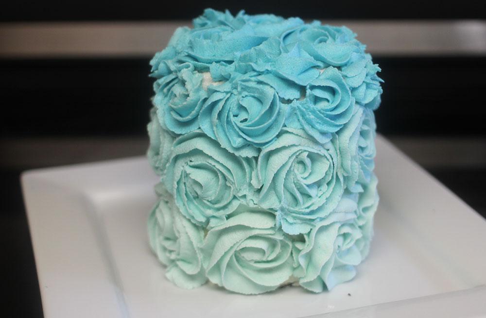 vegan blue ombre roses cake