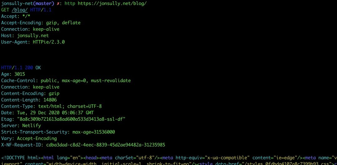 A command line request to this website's blog page with a trailing slash, not getting redirected
