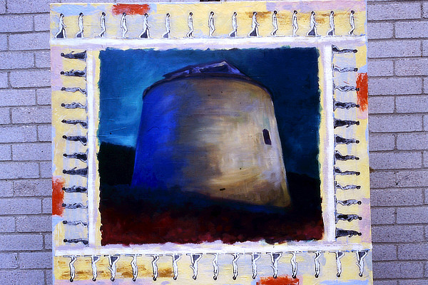 painting of Martello Tower surrounded by illustrations in the style of Eadweard Muybridge of a man walking