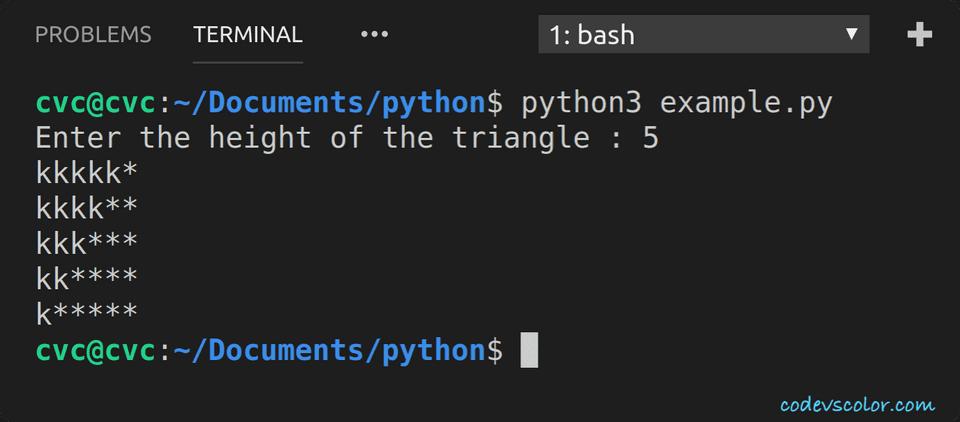 python print star triangle