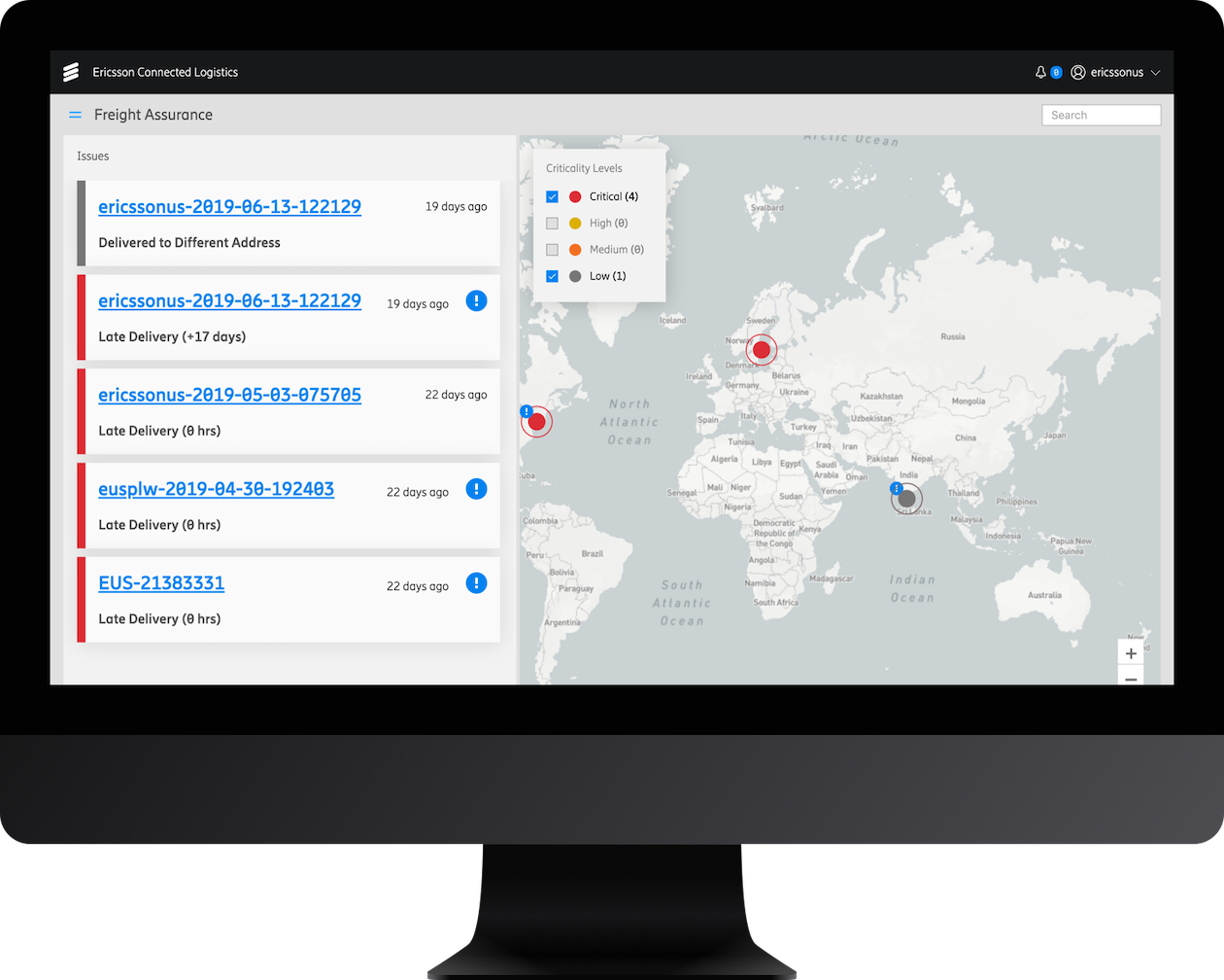 Ericsson's Connected Logistics Chain allows all actors in the supply chain to securely share information via API in order to trace shipments.