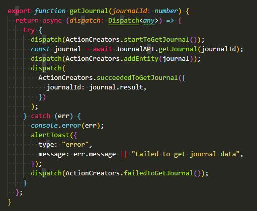 Redux action file