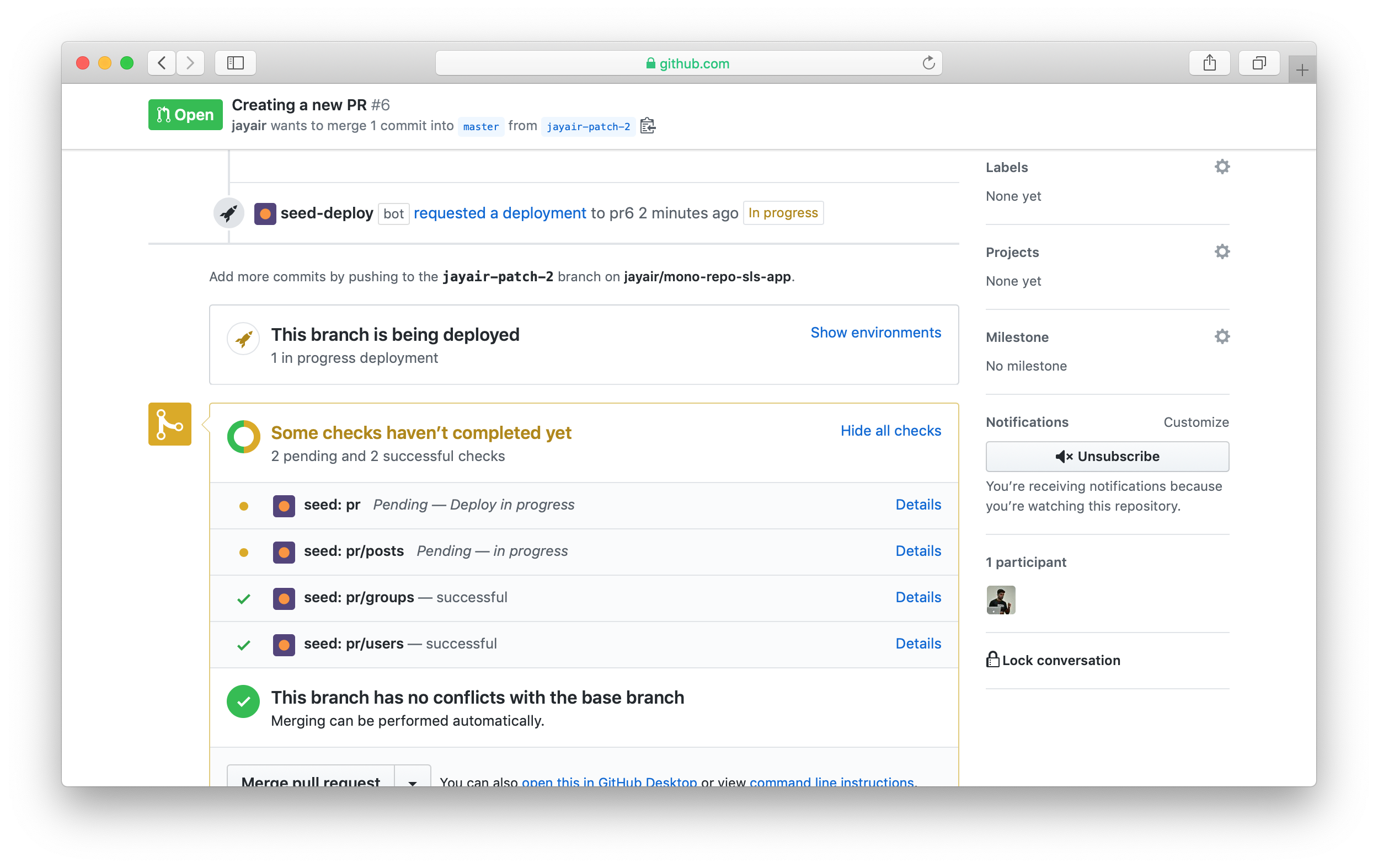 Seed PR building check in GitHub