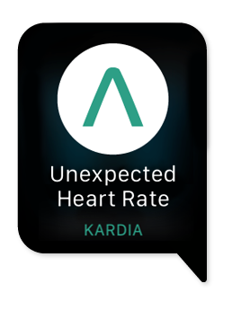 image of the Unexpected Heart Rate alert from the Kardia app for Apple watch