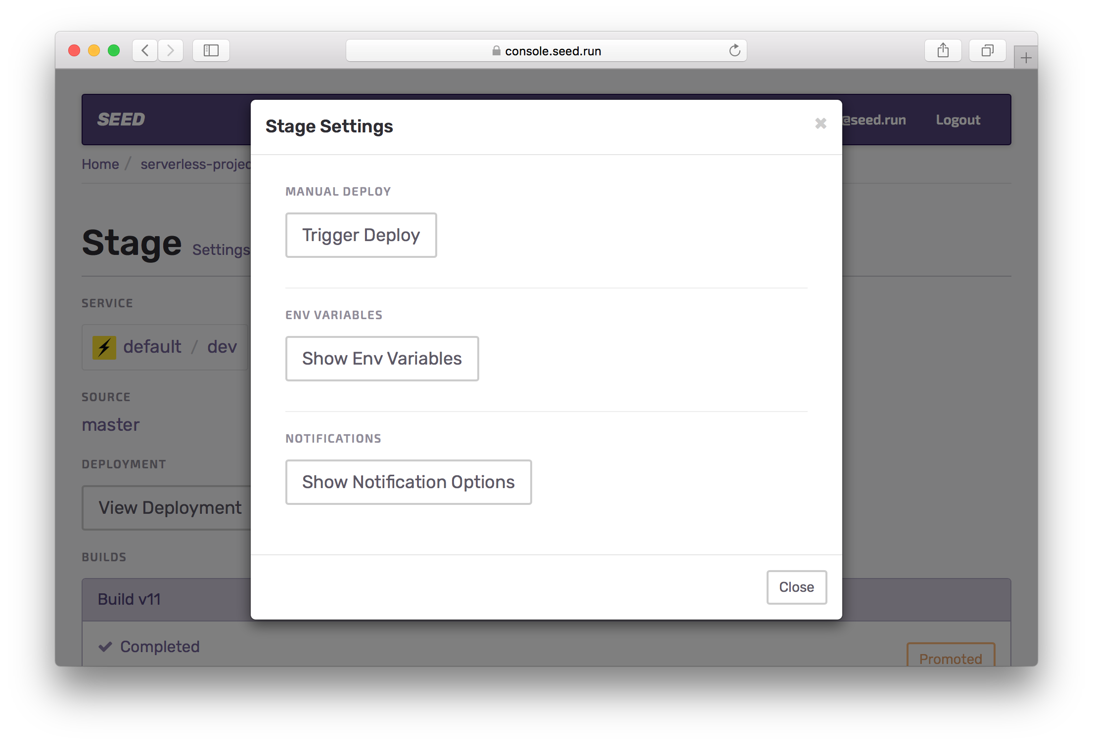 Select service stage settings