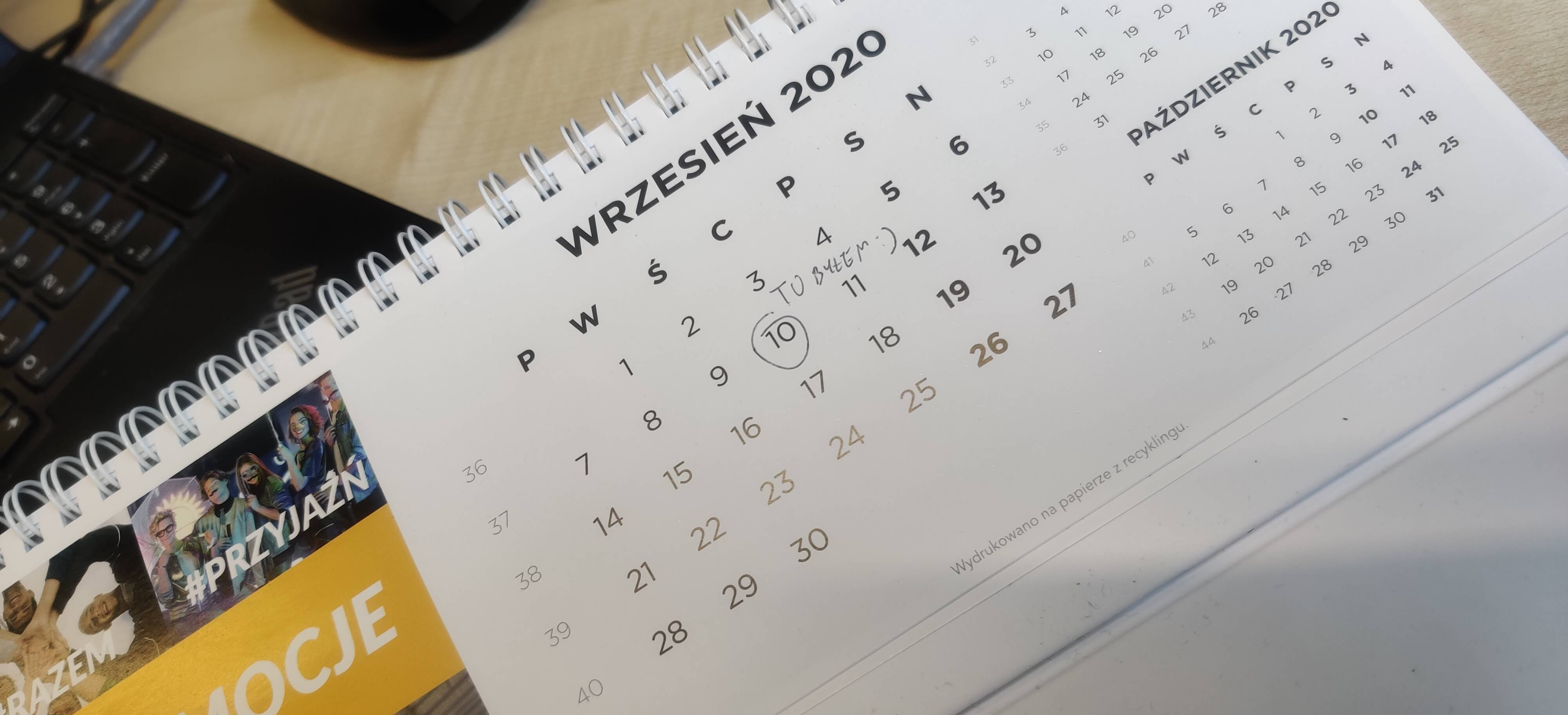 Calendar that stopped on 10th September 2020