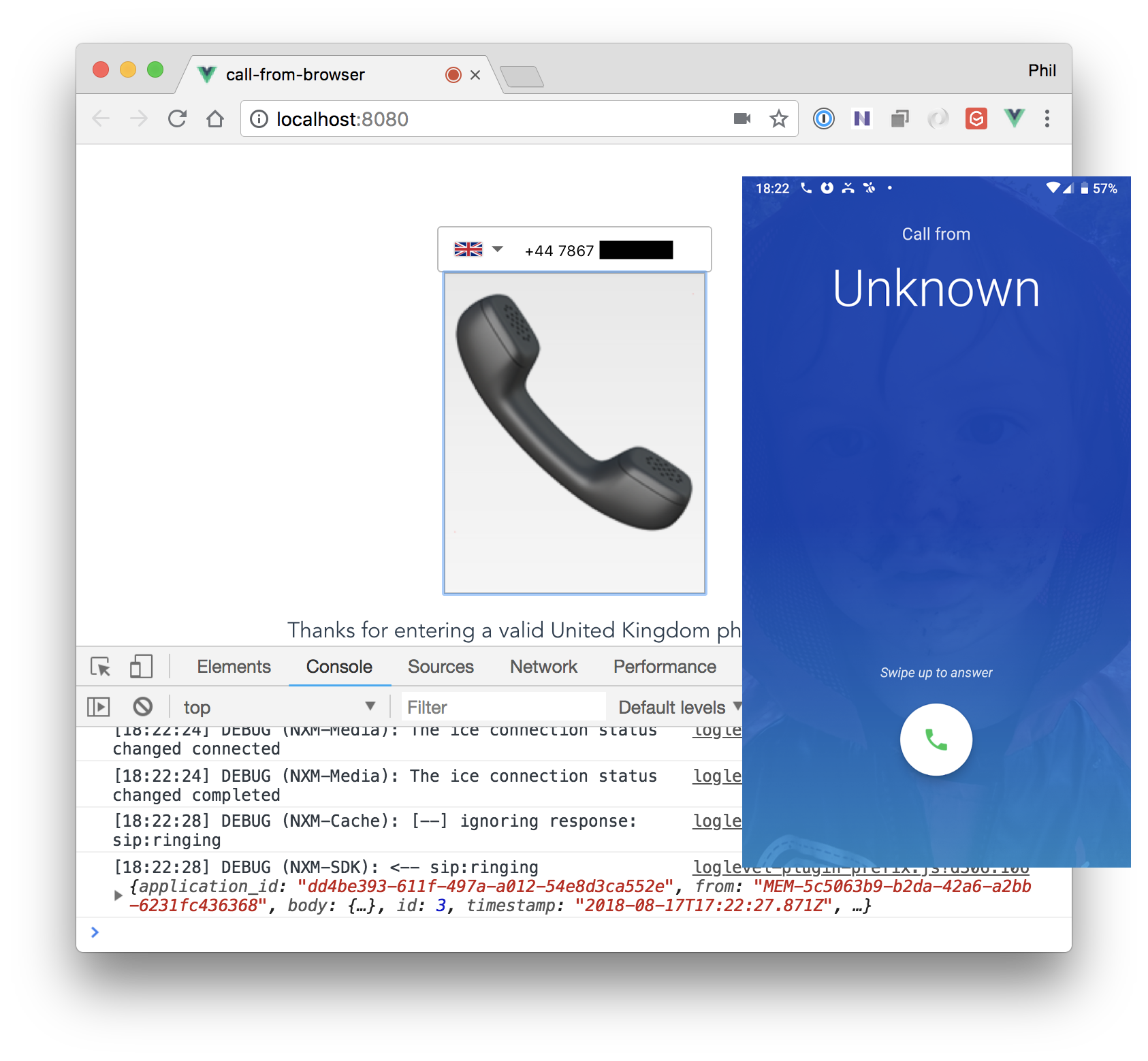 Full Vue.JS Call from Browser application working alongside screenshot of phone ringing