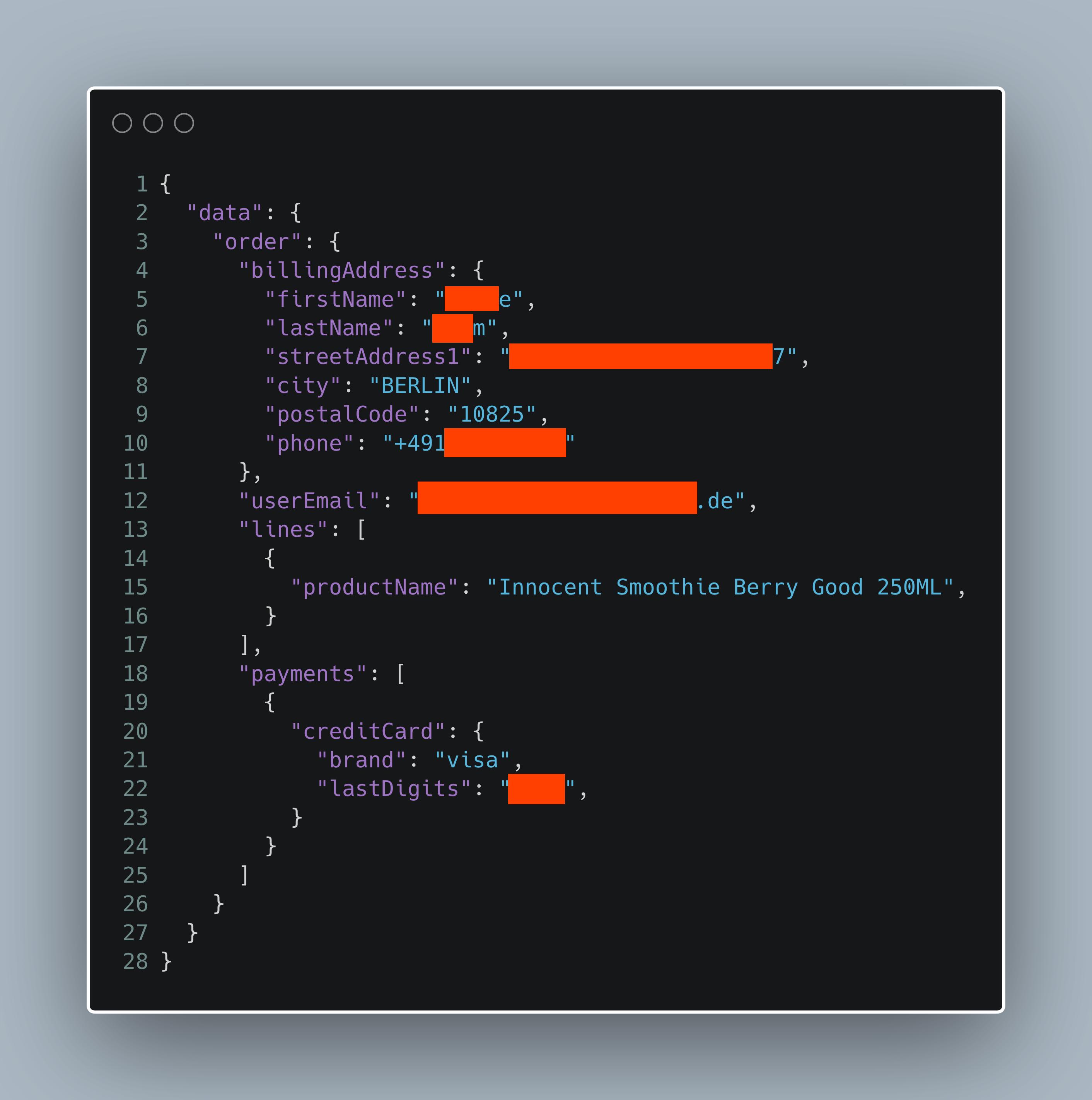 Zensierter Screenshot der JSON-Antwort einer Bestellung. Darin Name, Adresse, Telefonnummer, E-Mail, letzte 4 Stellen der Kreditkarte und was bestellt wurde.