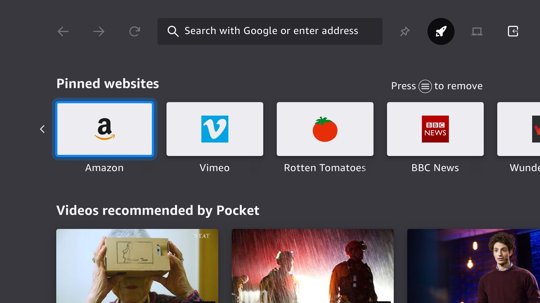Screenshot of the Firefox for Fire TV Show homescreen