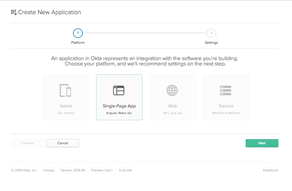 Select OIDC app type
