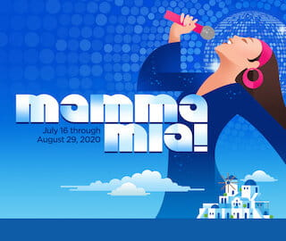 The logo for Mamma Mia! at Metropolis depicting a woman singing into a microphone against a blue disco background