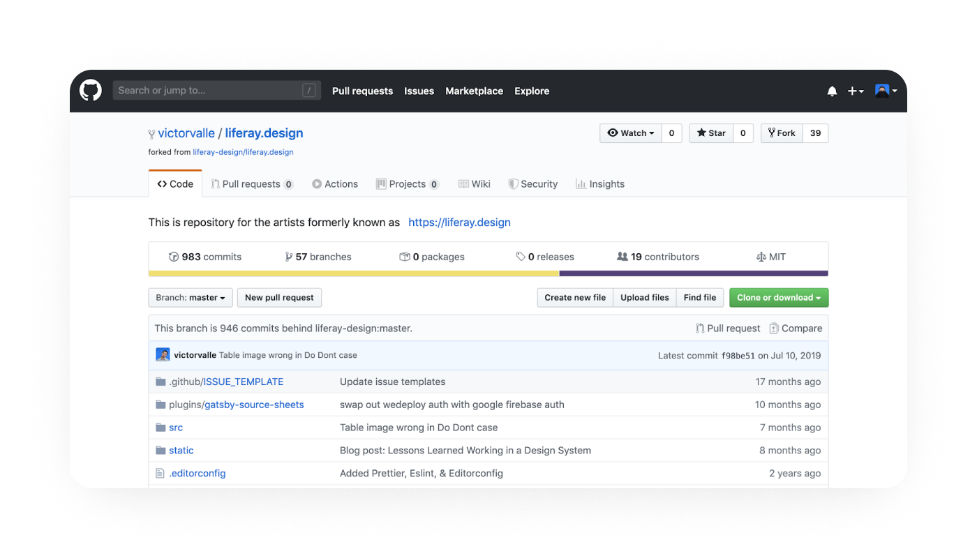 A screenshot showing GitHub user victorvalle's fork of the Liferay.Design repo.