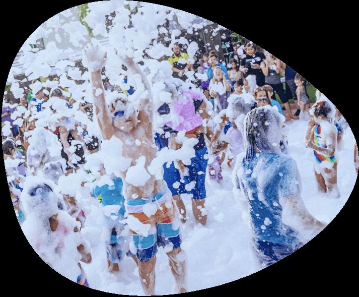 Kids playing inside of foam.