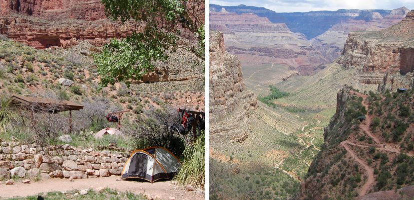 different views of the indian garden campground in the grand canyon backcountry