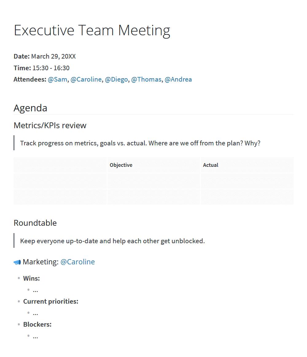 Executive team meeting agenda