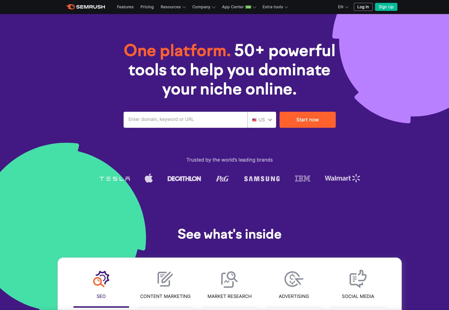 SaaS Marketing Automation Tools: SEMrush Screenshot
