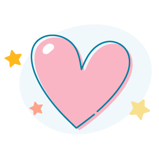An icon of a heart surrounded by little stars.