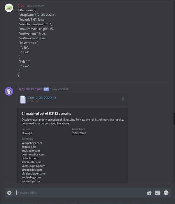 Discord bot command plus output