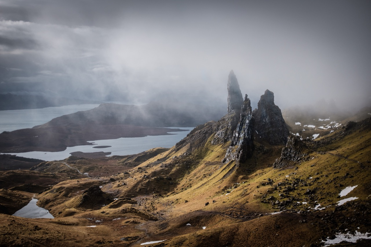 Old Man of Storr with clouds wrapping around one of the pinnacles