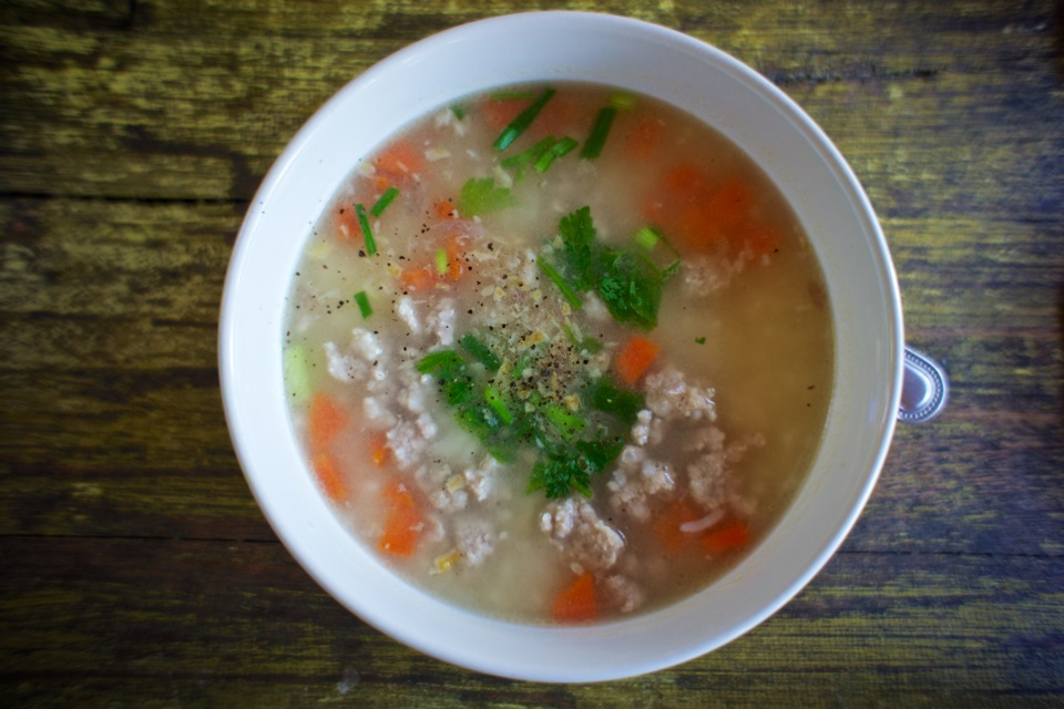 Rice soup with chicken