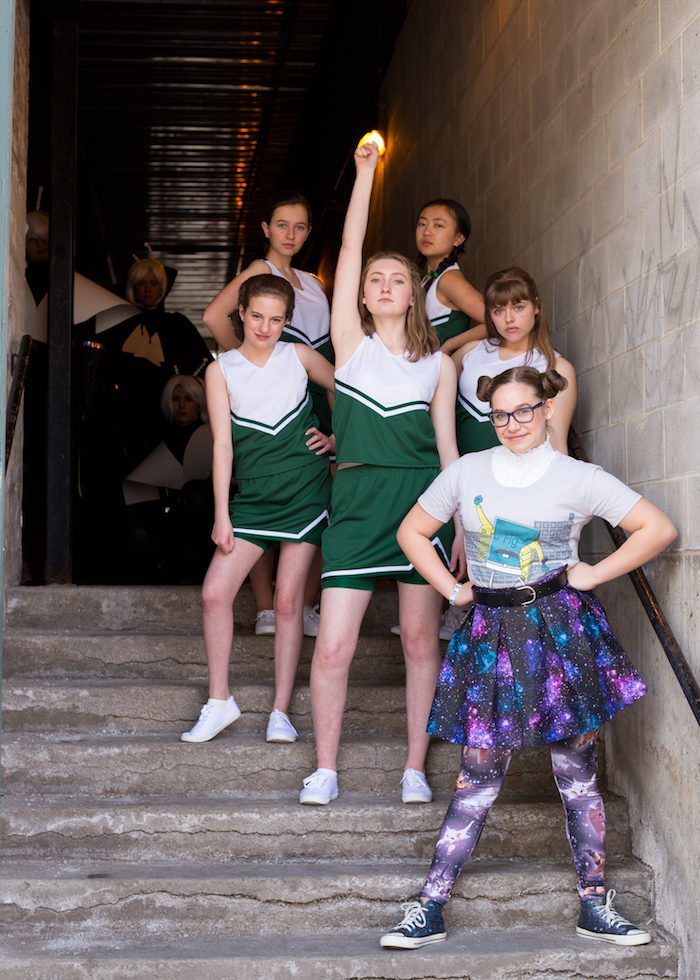 Promotional photo for the Egyptian Youtheatre production of CHEERLEADERS VS. ALIENS, photo by Amy Livingston.