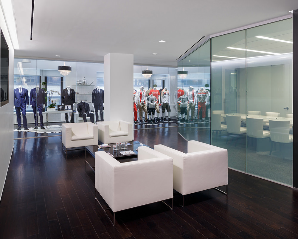 Office Room with Concave Glass Wall
