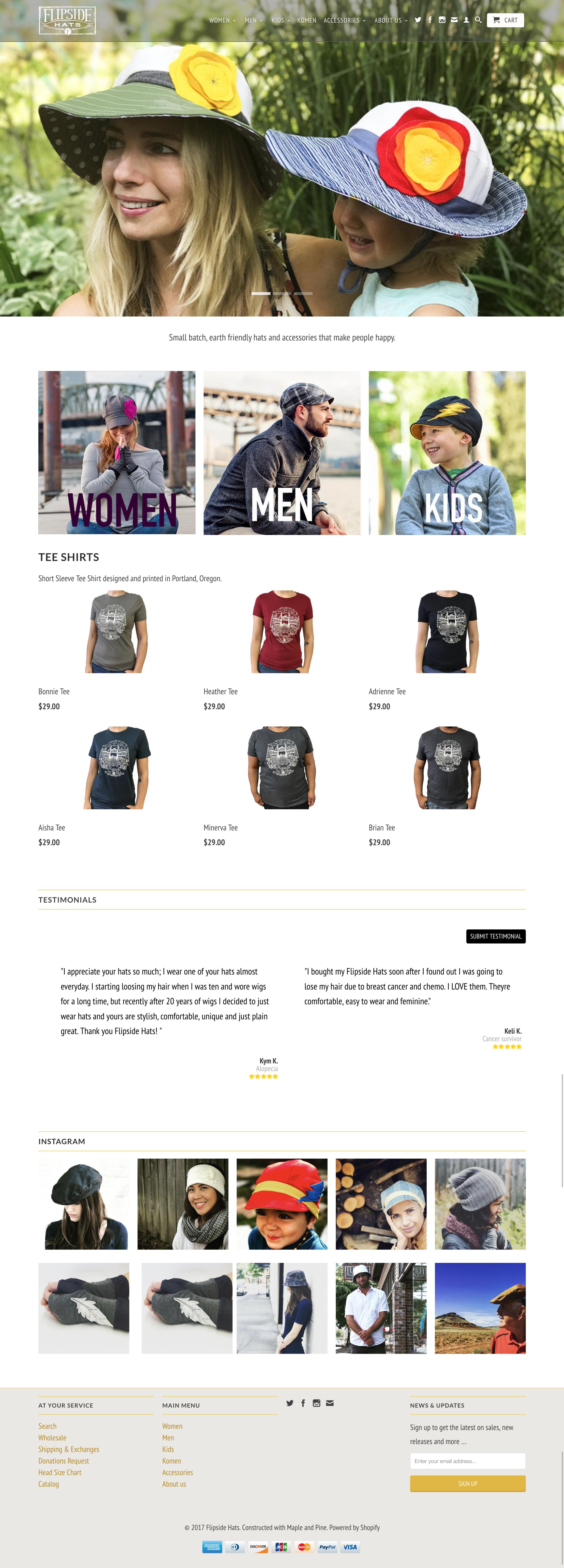 Flipside Hats v2 home page