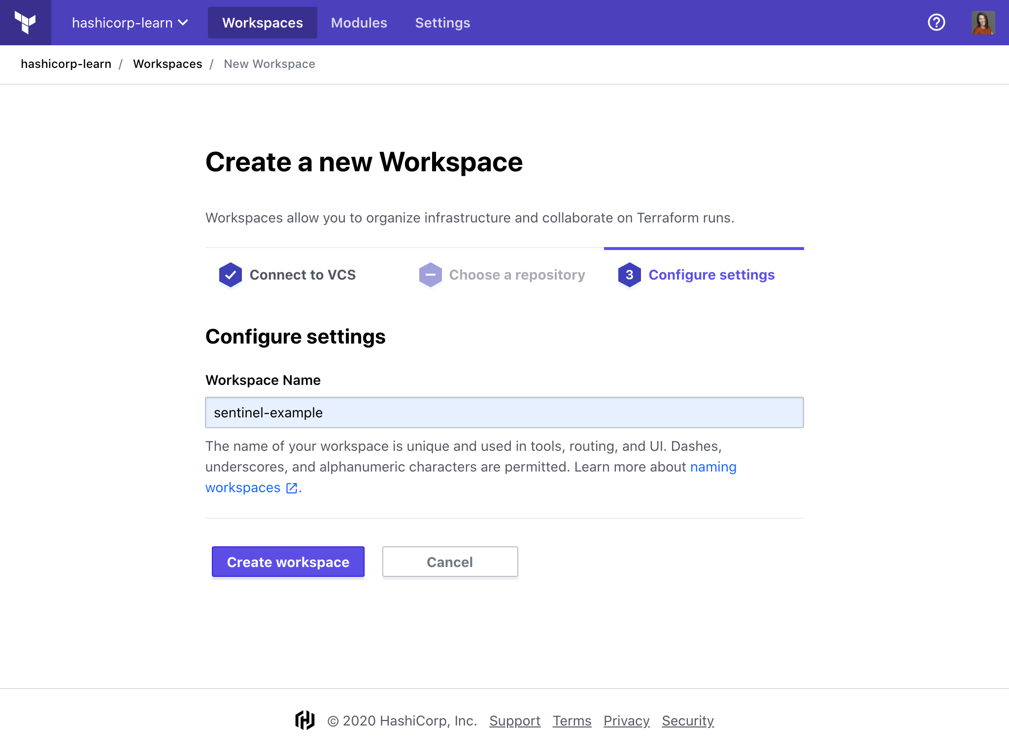 Name the workspace in Terraform Cloud