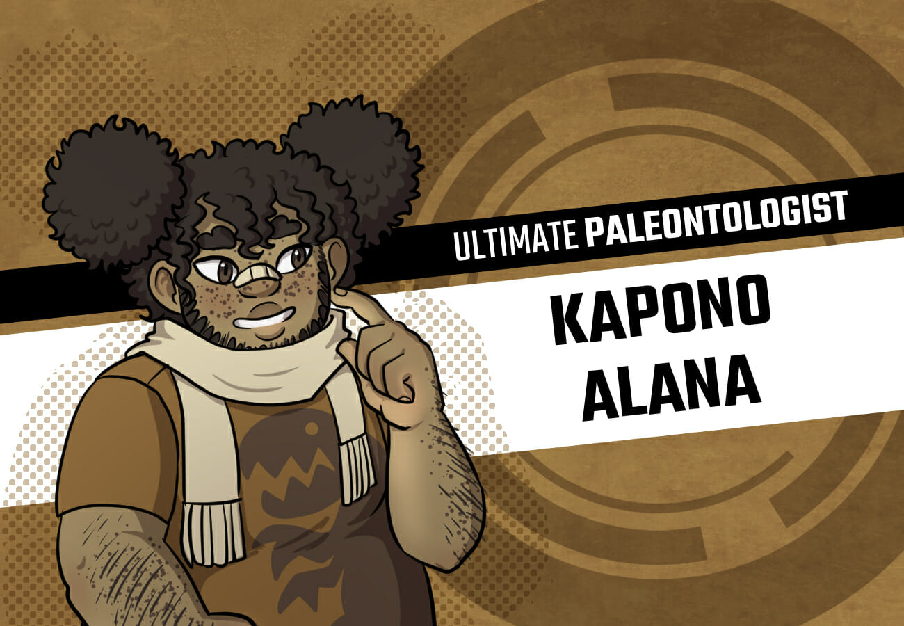 Introduction card for Kapono Alana, the Ultimate Paleontologist. He's a short, chubby boy with brown skin, freckles, an unusual amount of facial hair, and curly brown hair pulled up into pigtails as if a single elastic wouldn't be powerful enough to contain it. He's wearing a scarf and a t-shirt with a dinosaur on it.