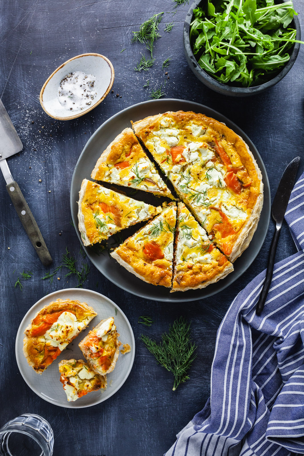 Puff Pastry Smoked Salmon Quiche With Goat Cheese