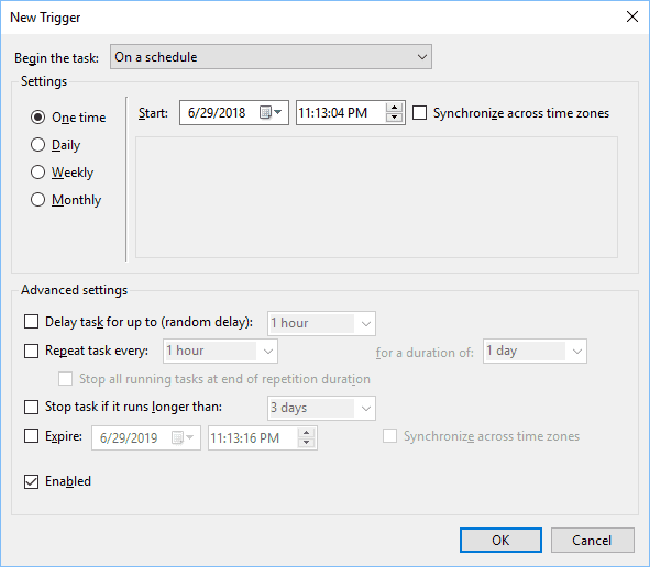 Create Task Schedule