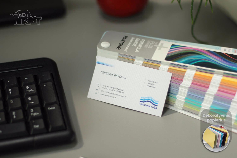 Vizitinės kortelės. Dekoratyvinis popierius