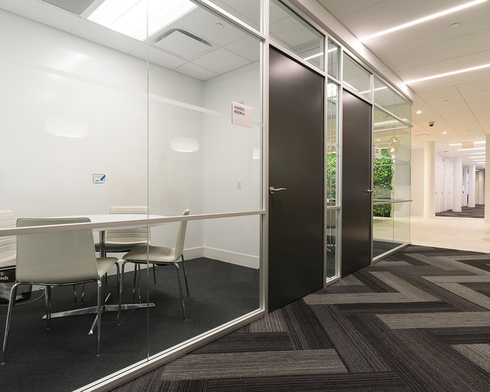 Office Hallway with Doors with a Black Finish