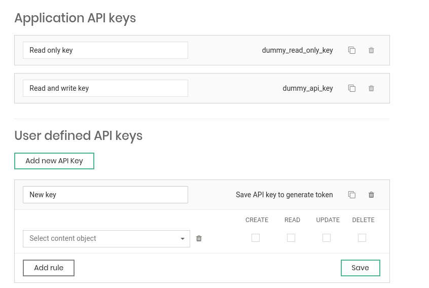 Flotiq provides scoped API keys to improve security of your content