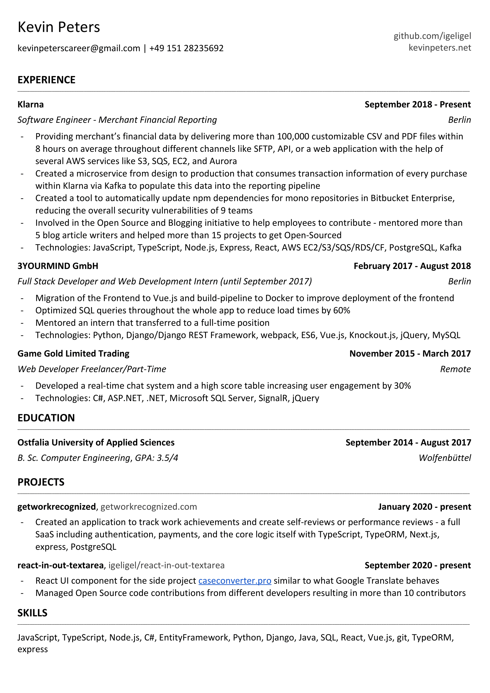 My resume as a short and concise resume