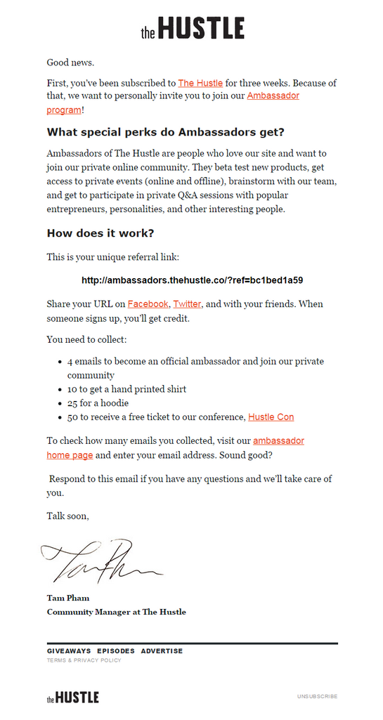 Hustle advocate email